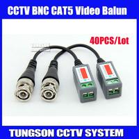 40pcs/lot Twisted BNC Video Balun Passive Transceivers UTP Balun BNC Cat5 CCTV UTP Video Balun up to 3000ft Range,Free shipping
