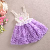 Baby Girl Chiffon Dresses Rose Children Pink Lace Flower Dress Princess Flower Kids Desses 5PCS/LOTS Lace Sundress fabric