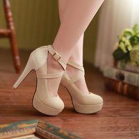 Elegant 33 42 high-heeled shoes buckle platform work shoes single shoes boat shoes model shoes dance shoes