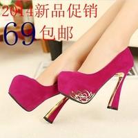 2014 spring high-heeled shoes fashion platform fashion scrub ultra high heels shallow mouth shoes wedding shoes