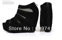 2014 women pumps spring fashion suede leather perspectivity patchwork open toe sandals wedges platform sandals women's shoes