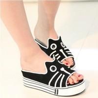 Saidsgroupsdirector shoes fashion genuine leather women's shoes platform single shoes cat dog slippers mj