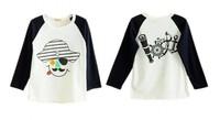 Wholesale 2014New Children's T Shirts 2-6X Boys&Girls Fashional Pirate Tee Brief Kids Long Sleeve T-shirit Blue Sleeve Cheap!