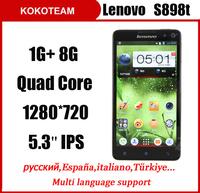 Original Lenovo S898T 5.3'' IPS Screen 1280*720px 13MP Camera Quad core MTK6589T 1G RAM 8G ROM Multi language smart phone