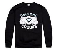 MENS Loose style Cartoon Hands Diamond HOODIE  Hip hop rap Crewneck Sweater New Sweatshirt