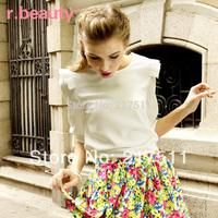 Free Shipping r13B2043 Autumn Blouses 2014 Plus Size Women Shirts Three Quarter Sleeve Ruffle Chiffon Blouses Hot Tops of Women