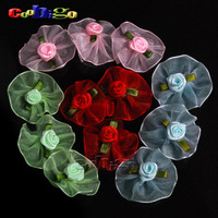 100pcs Pack Mix 4 Colors U Pick 4cm Soft Organza Satin Ribbon With Rose Flower Appliques Clothing&Wedding #FLF029(Mix)