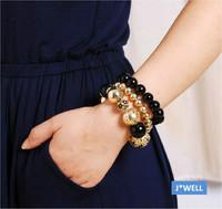 J-WELL Designer Jewelry 2014 Fashion Statement Flower Ball Gold Beads Women Luxury Party 3 Layer Chain Gift Stretch Bracelet