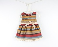 2014 Hot seller Couture Baby-girls spring lined slip sleeveless colorful striped dress kids outfit