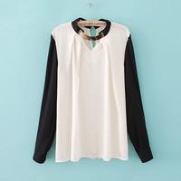 Solid Blouse Shirts Plus Size 2014 Hot Sale New Women Fashion Spring Summer Autumn White/Black Chiffon V-Neck Full 8132