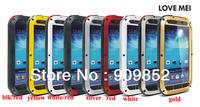 Original LOVE MEI Powerful Shockproof Dirtproof Waterproof Metal Case For Samsung Galaxy S4 I9500 ,MOQ:1PCS free shipping