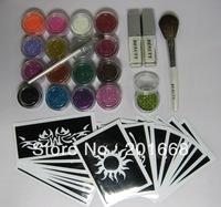 Body Art Shimmer color Glitter Powder Kit Tattoos Stencils Brushes Glues Kits Tool CM167