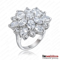 New Arrival Noble Flower Shape Engagement Ring Platinum Plated AAA Swiss Cubic Zircon Rings Fashion Jewelry Ri-HQ0365