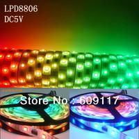 $10 off per $100 DHL free shipping 5m/lot dream color changing dc5v waterproof ip67 flexible lpd8806 digital led strip lighting