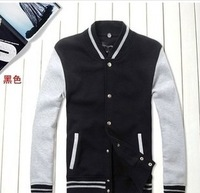 New Arrival Man's Baseball Uniform Sweatshirt Casual Stand Collar Patchwork Sweatshirts Cardigan Casual Outerwear JK-279
