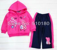 1 set retail Girls cartoon Peppa pig spring autumn track suits hoodies+pants 2pcs set sports suits clothing set