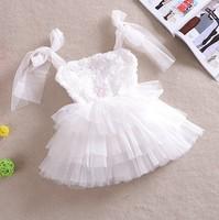 2014 Newest Baby-girls pageant wedding Christening slip lace princess sleeveless rosettes tutu dress