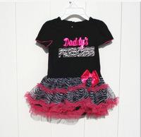 Retail New summer baby girl  Bow Dresses Kids Clothing dot TUTU dress Zebra stripes GQ-347