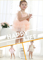 5 pcs/lot,kids beige color tutu dresses, flower girl dress,2002