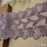 1kg 14cm Mesh Fabric Lace Vintage Embroidery French Lace Trim Wedding Dress Applique Guipure Dentelle Sewing Accessories AC0076