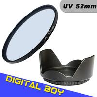 Digital Boy 52mm UV Ultra-Violet Lens Filter+52mm Lens Hood Filter kit Protector for Canon Nikon d3100 d5100 free shipping