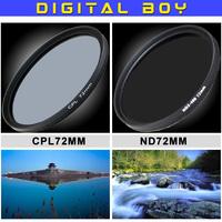 Digital Boy 72MM cpl polarizing filter + 72mm ND2-400 Filters lens Kit for Canon  7D 50D 5D 60D T3i 18-200 15-85mm