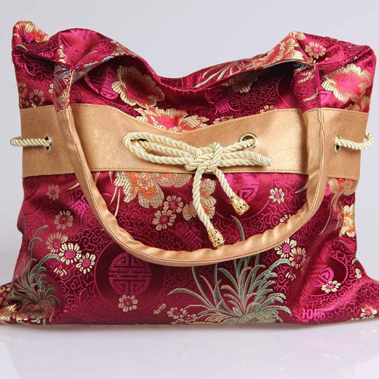 Free shipping imitation brocade handbags 2014 new retro bow national women's handbags ancient royal embroidery bag female bag(China (Mainland))