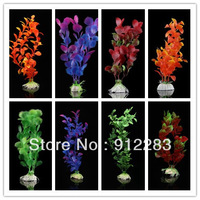Free Shipping 10pcs Random Mix Colors Artificial Plastic Water Plants for Fish Tank Ornament #SZ109