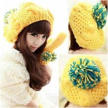 Winter Sweet Girls Warm Women Large Ball Bobble Hat Knitting Wool Caps Beanie Yellow(China (Mainland))