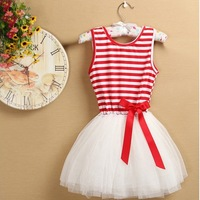 2014 Newest Baby-girls beautiful colorful stripeddd sleeveless tutu princess bow soutache dress