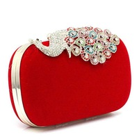 2014 new fashion boutique clutch bags evening bag peacock decorate bags 03316 free shipping