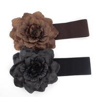 Fashion Fabric Flower Elastic Women's Wide Leather Belt, Cummerbund Waistband for Ladies Free Shipping