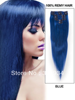 Wholesale 16inch-28inch hair 7 Piece/set  silky straight clip In hair blue color Indian human remy hair extension free shipping