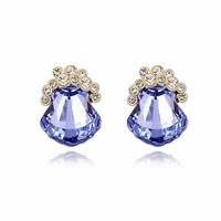 Promise Real Austrian Austria crystal stud earring For women 18k gold plated earrings High Quality silver Fashion Jewelry Q028