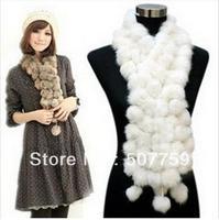 Rabbit fur ball scarf rabbit fur muff ler scarf