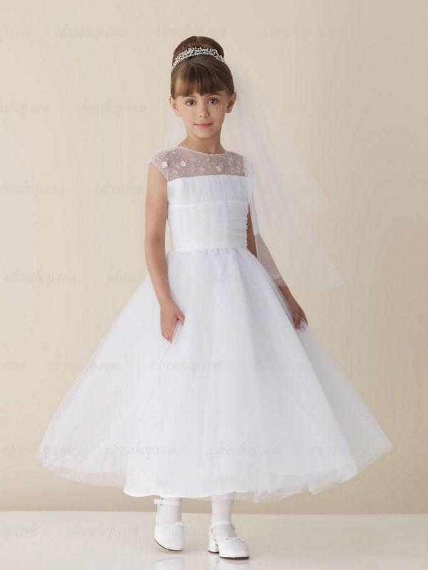 Aliexpress.com : Buy Modest Short Sleeves White First Communion ...