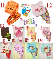 kids animail printed pajamas suits baby 100% Cotton Sleepwear Children's long sleeve carton pyjamas sets