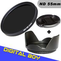 Digital Boy  Brand new 55mm ND2 to ND400 Filter+ 55mmLens Hood + 55mmLens Cap for Canon nikon D90 D7000 EOS 650D 600D 550D 1100D