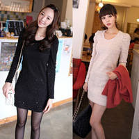 Hot-selling elegant fiona gentlewomen sequin jacquard puff sleeve slim one-piece dress 8182