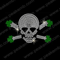 50Pcs/Lot Free Shipping Skull&Irish Shamrock Rhinestone Designs For St. Patrick'S Day Iron On Crystal Motif Free Custom Design