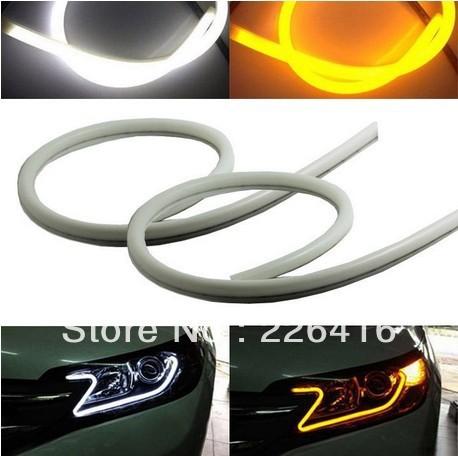 2x Tube Style White-Amber Switchback Headlight LED Strip Drl Daytime Light For VW Touareg Tiguan 02-12 Golf 5 Passat B5 B6(China (Mainland))