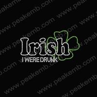 50Pcs/Lot Free Shipping Irish I Were Drunk Rhinestone Heat Transfers For St. Patrick'S Day Wholesale Crystal Stones For Dresses
