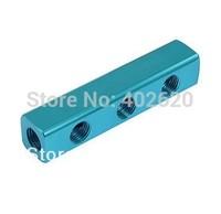 "5pcs/lots, free shipping, 1 4"" Thread Ports 3 Way aluminum Quick Connect Air Hose Manifold"