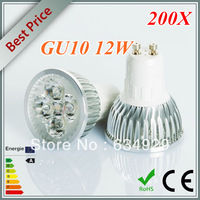 Wholesale New 200X High Power Dimmable GU10 4x3W 12W Spotlight Lamp 4 CREE LED 110V-240V Light Bulb Downlight Free shipping