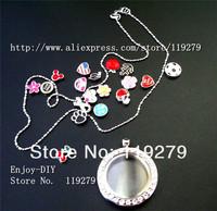 Free shipping! 1 set full rhinestones round Locket + 13pcs Floating charms +1pc Necklace