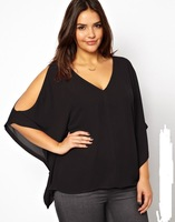 Womens sexy v-neck curve plus size blouse with bat sleeve and cut out design in shoulder for wholesale and dropship 1074