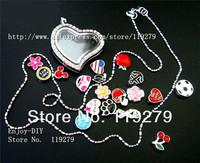 Free shipping! 1 set full rhinestones heart  Locket + 13pcs Floating charms +1pc Necklace