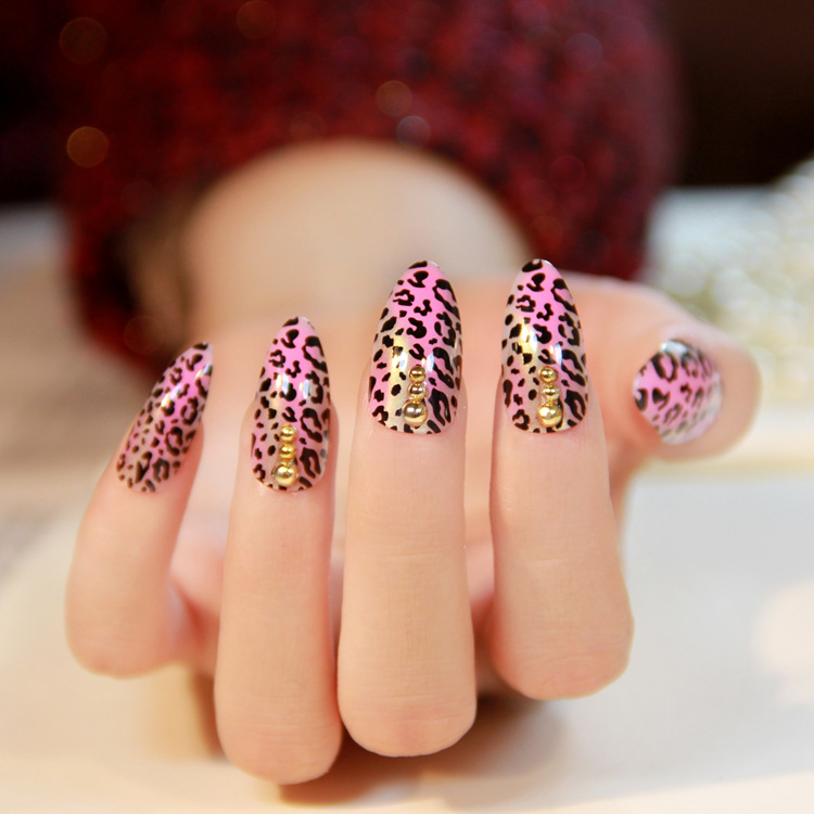 Pink gradient leopard print pointed toe nail art patch sexy false nail finished products(China (Mainland))