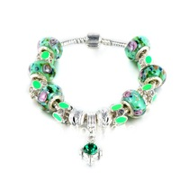 Hot Sell 925 Silver European Charm Bracelet Bangle for Women with GREEN Murano Glass Beads Fashion Love DIY Jewelry PAN4-2