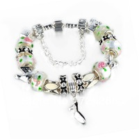 New Arrival 925 Silver European Charm Bracelet Bangle for Women W/ mix Murano Glass Beads Fashion Love DIY Jewelry PAN10-5